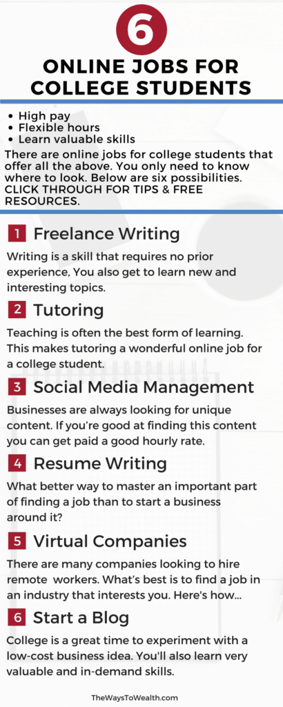 Legit online jobs for college students where you can 1) Earn Good money 2) Work Flexible Hours 3) Acquire Valuable Skills